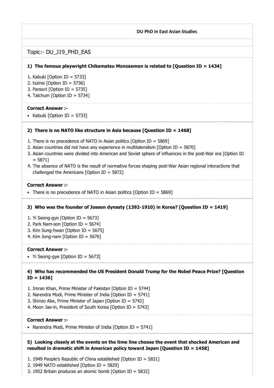 DUET Question Paper 2019 for Ph.D East Asian Studies - Page 1
