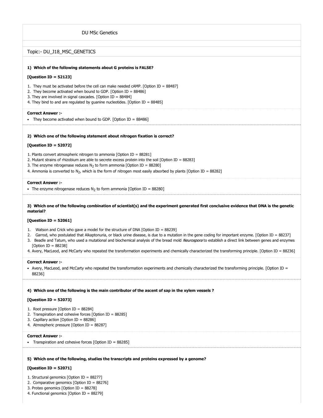 DUET 2018 Question Paper for DU MSc Genetics - Page 1