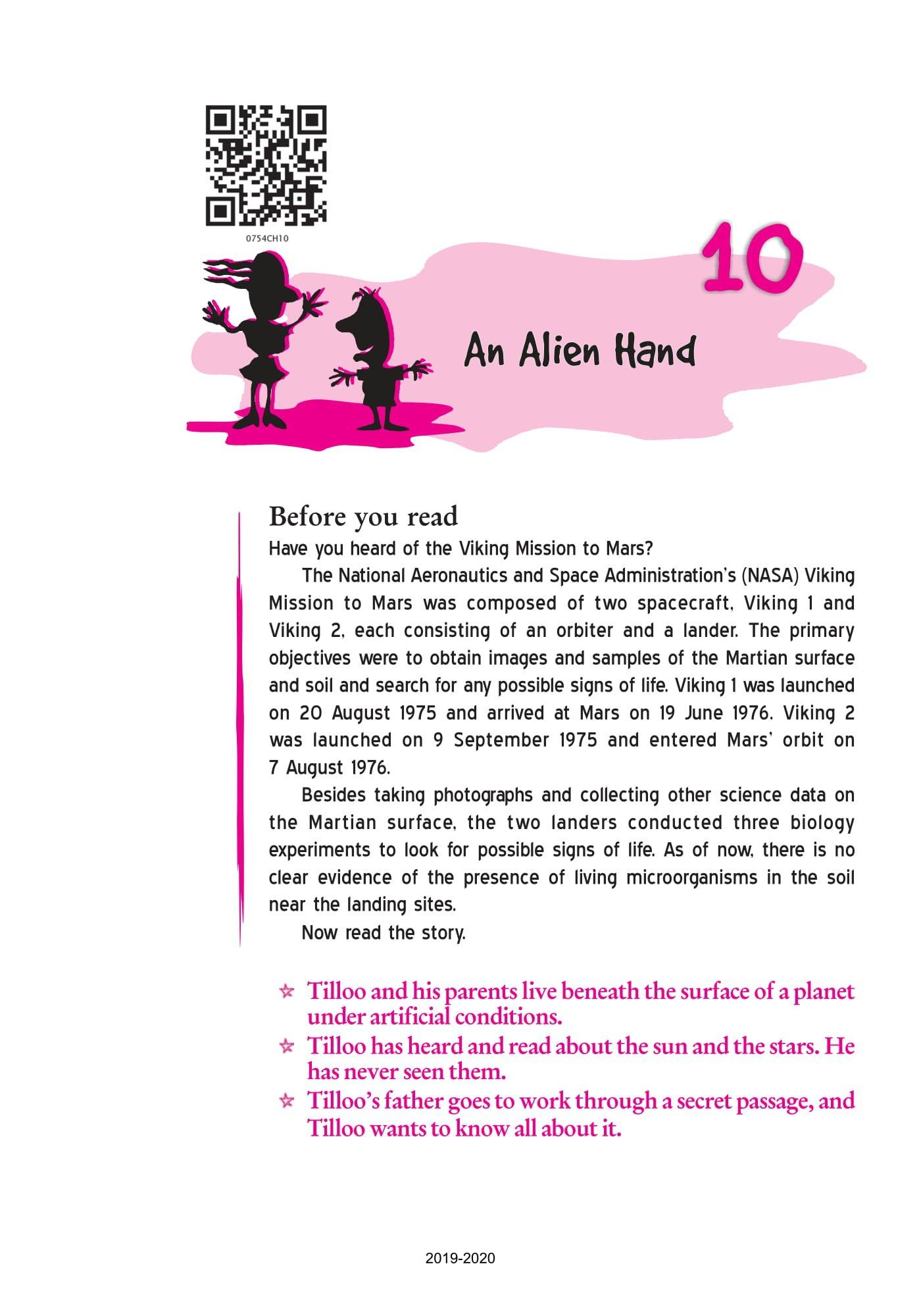 NCERT Book Class 7 English (The Alien Hand) Chapter 10 An Alien Hand - Page 1