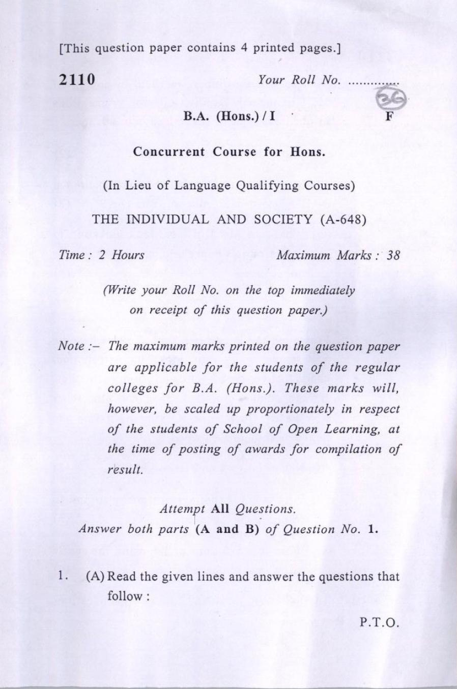DU SOL Question Paper 2017 BA (Hons.) The Individual and Society - Page 1