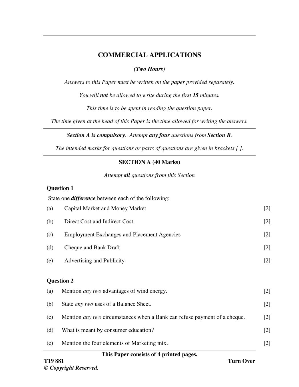 ICSE Class 10 Question Paper 2019 for Commercial Applications  - Page 1