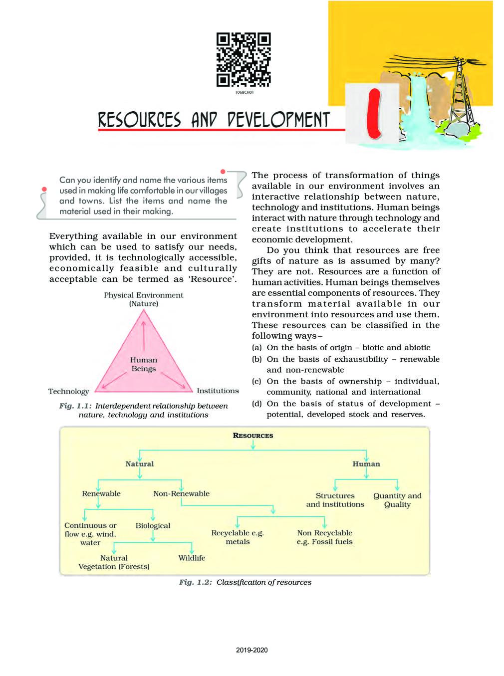 NCERT Book Class 10 Social Science (Geography) Chapter 1 Resources and Development - Page 1