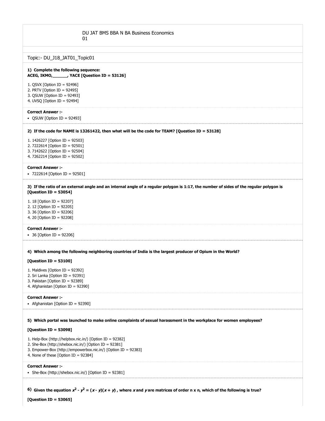 DUET 2018 Question Paper for DU JAT BMS BBA N BA Business Economics 01 - Page 1