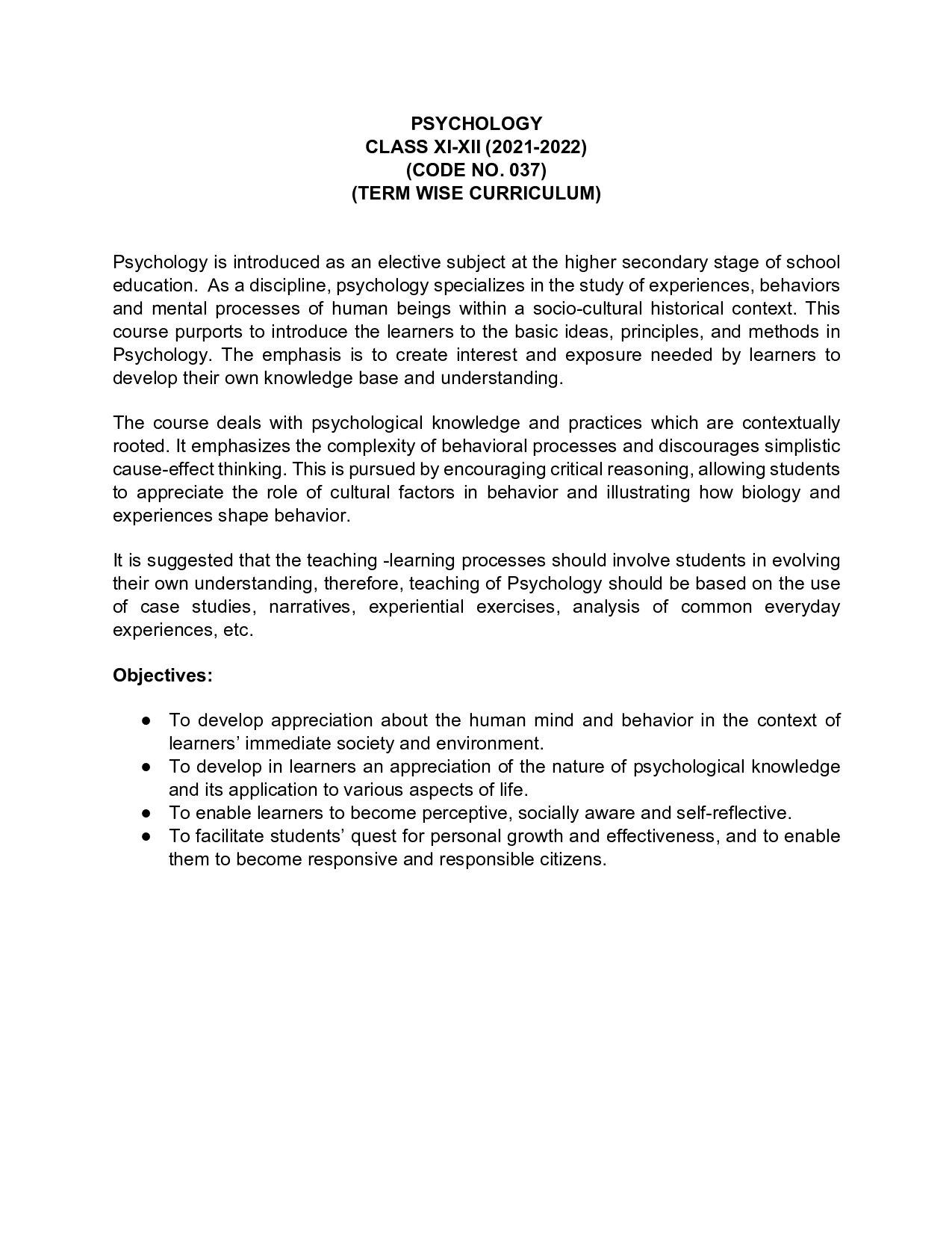 CBSE Class 12 Term Wise Syllabus 2021-22 Psychology - Page 1