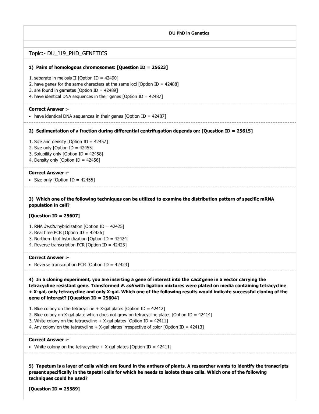 DUET Question Paper 2019 for M.Phil Ph.D Genetics - Page 1