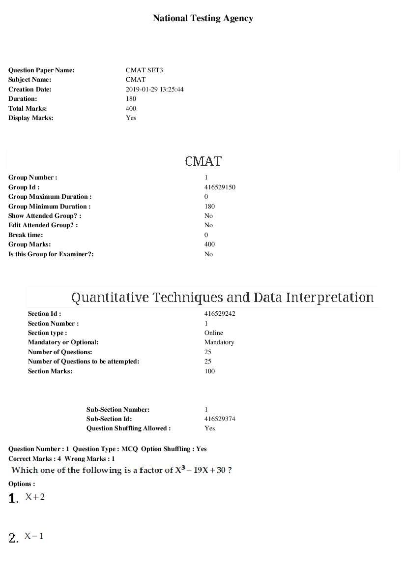 CMAT 2019 Question Paper 29 Jan Set 3 - Page 1