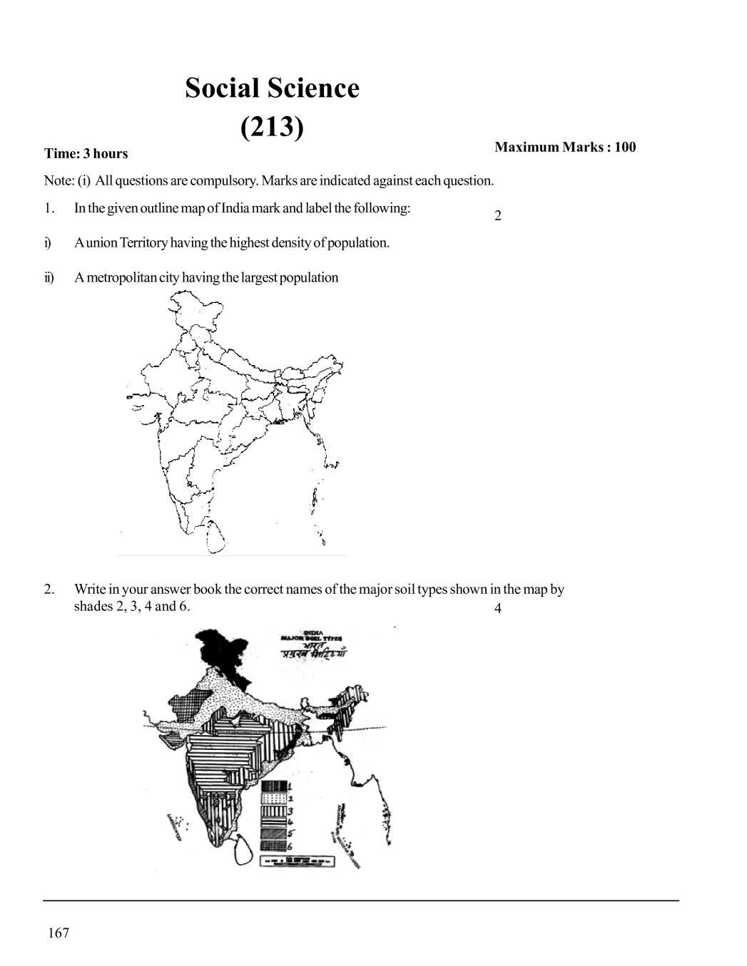 NIOS Class 10 Sample Paper 2020 - Social Science - Page 1