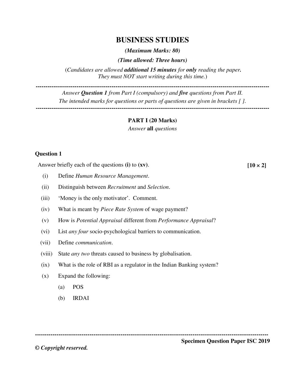 ISC Class 12 Question Paper 2019 for Business Studies - Page 1