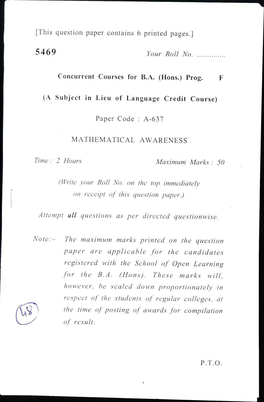 DU SOL Question Paper 2017 BA (Hons.) Mathematical Awareness - Page 1