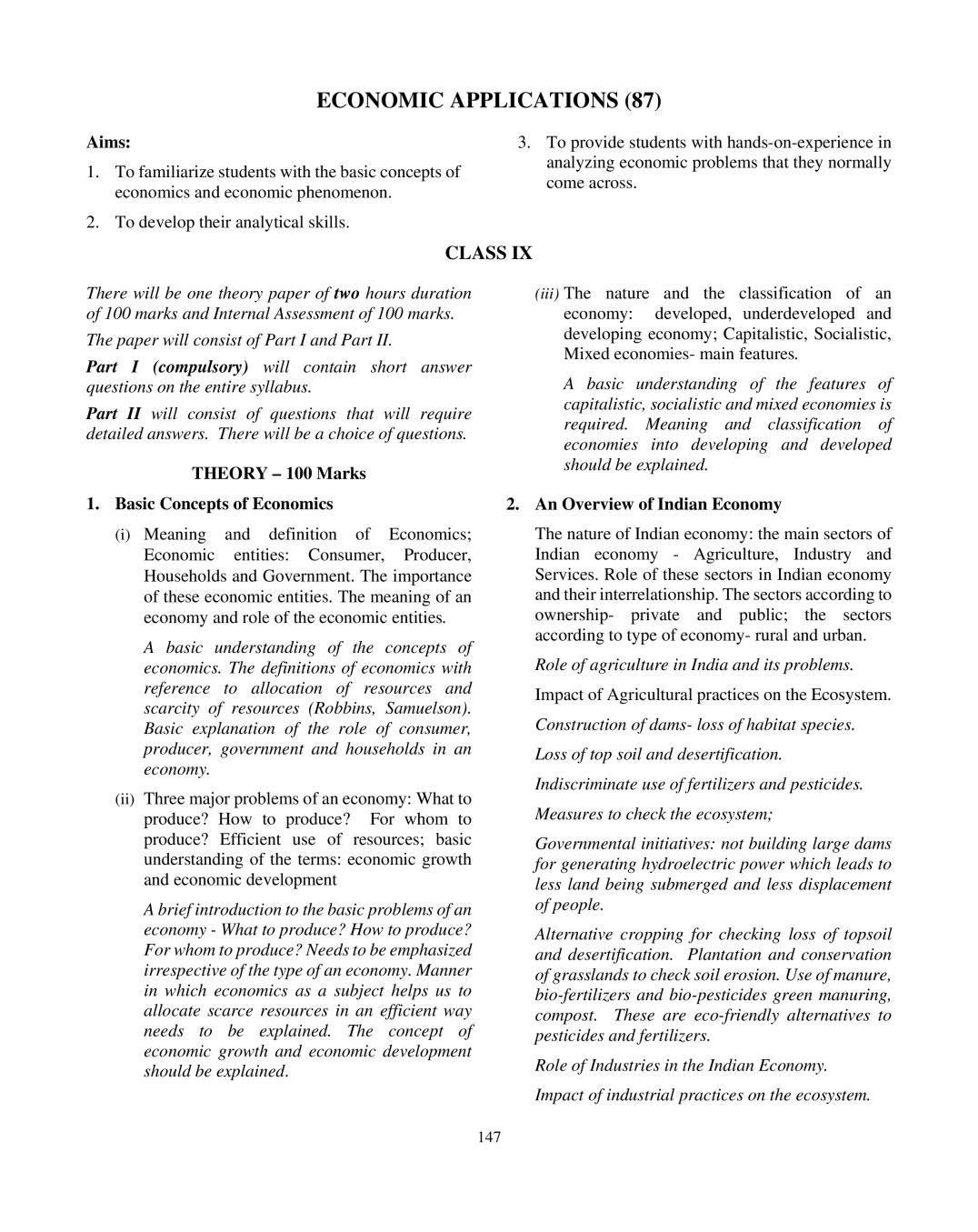 ICSE Class 10 Economic Applications Syllabus 2020 - Page 1