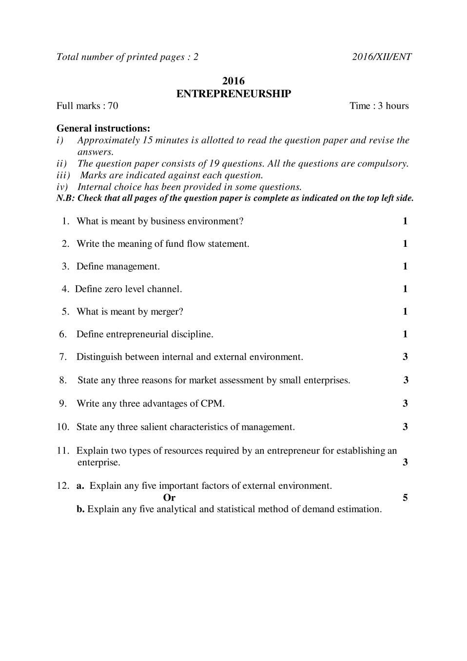 NBSE Class 12 Question Paper 2016 for Entrepreneurship - Page 1