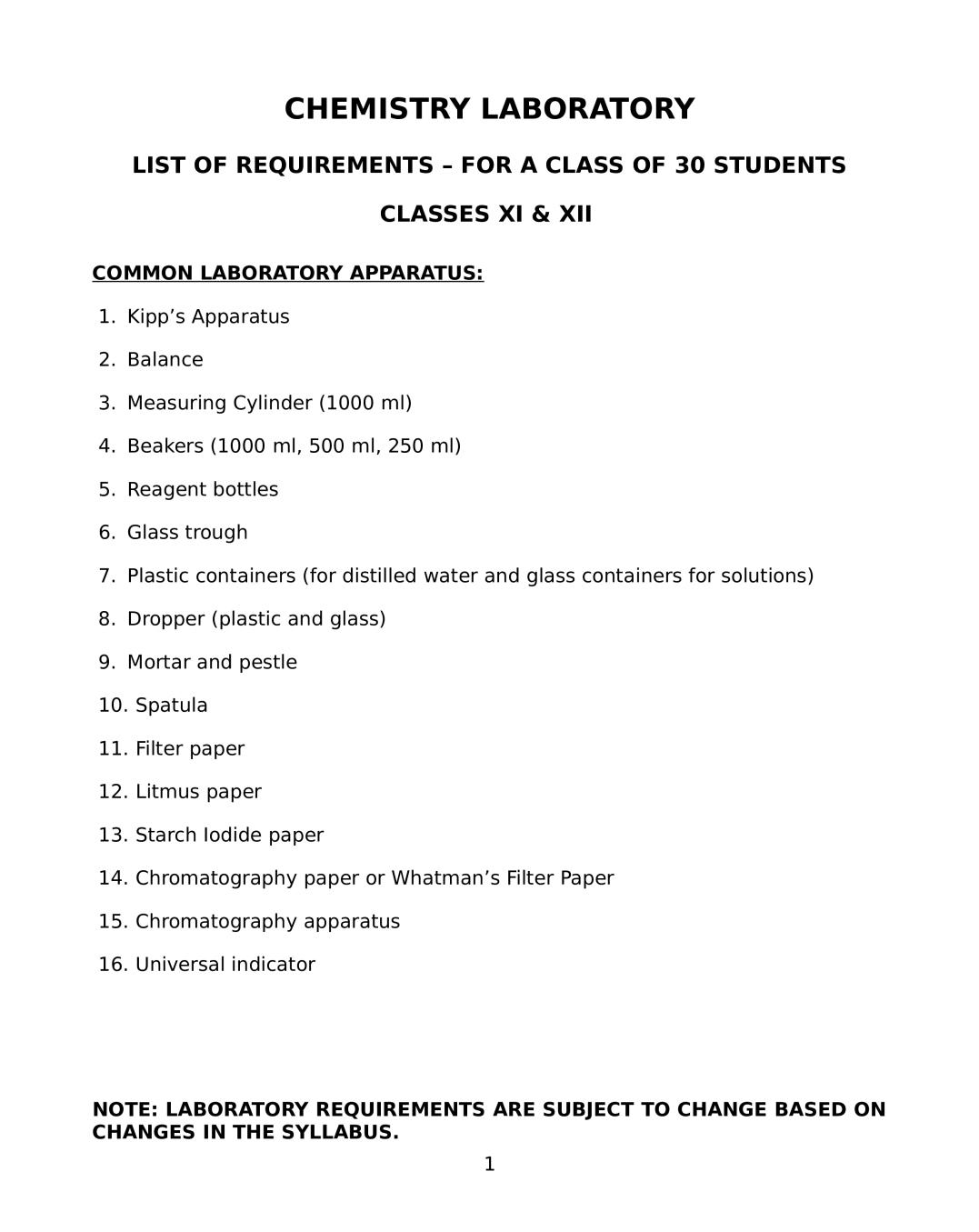 ISC Chemistry Lab Manual for Class 11,12 - Page 1