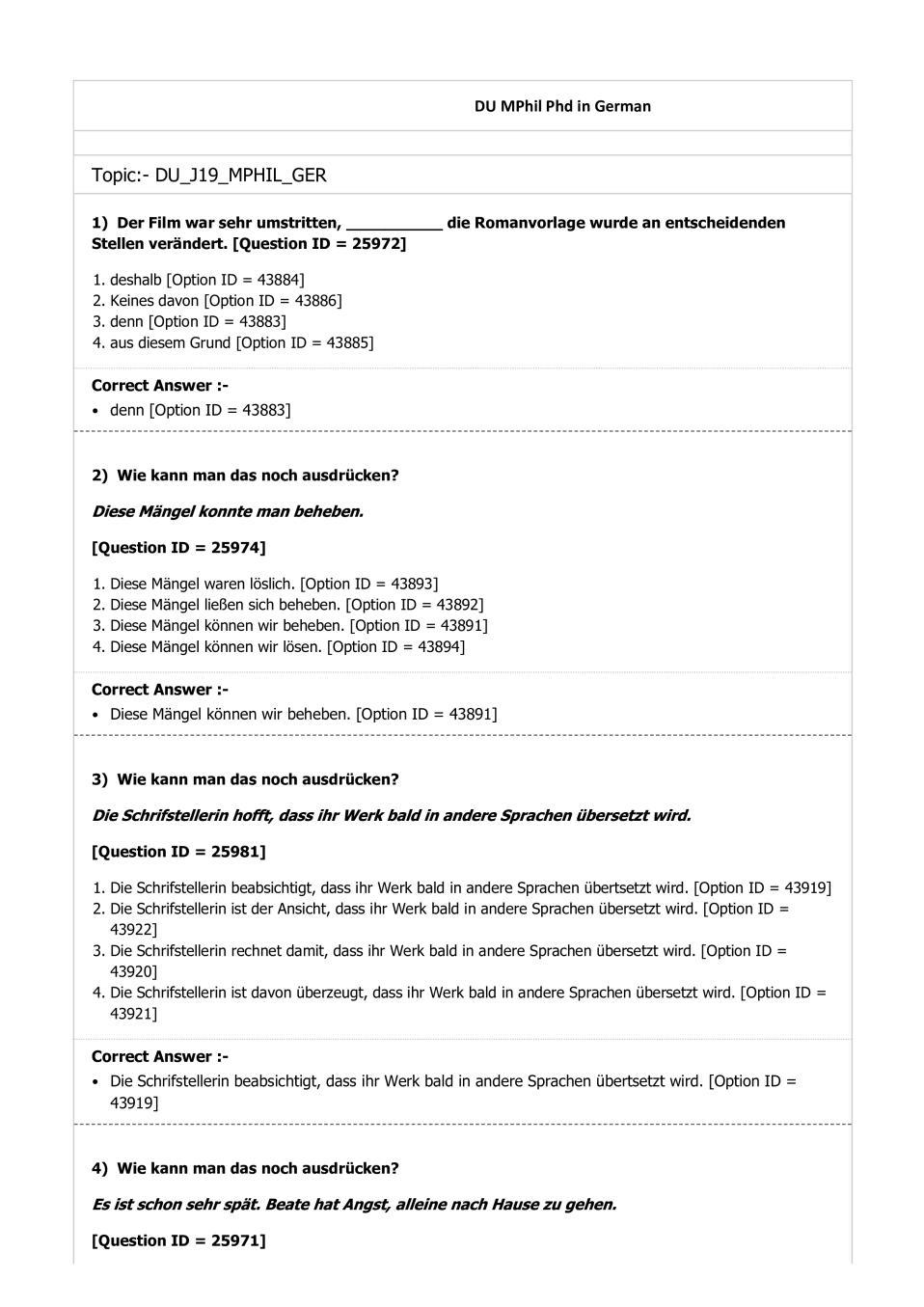 DUET Question Paper 2019 for M.Phil Ph.D German - Page 1