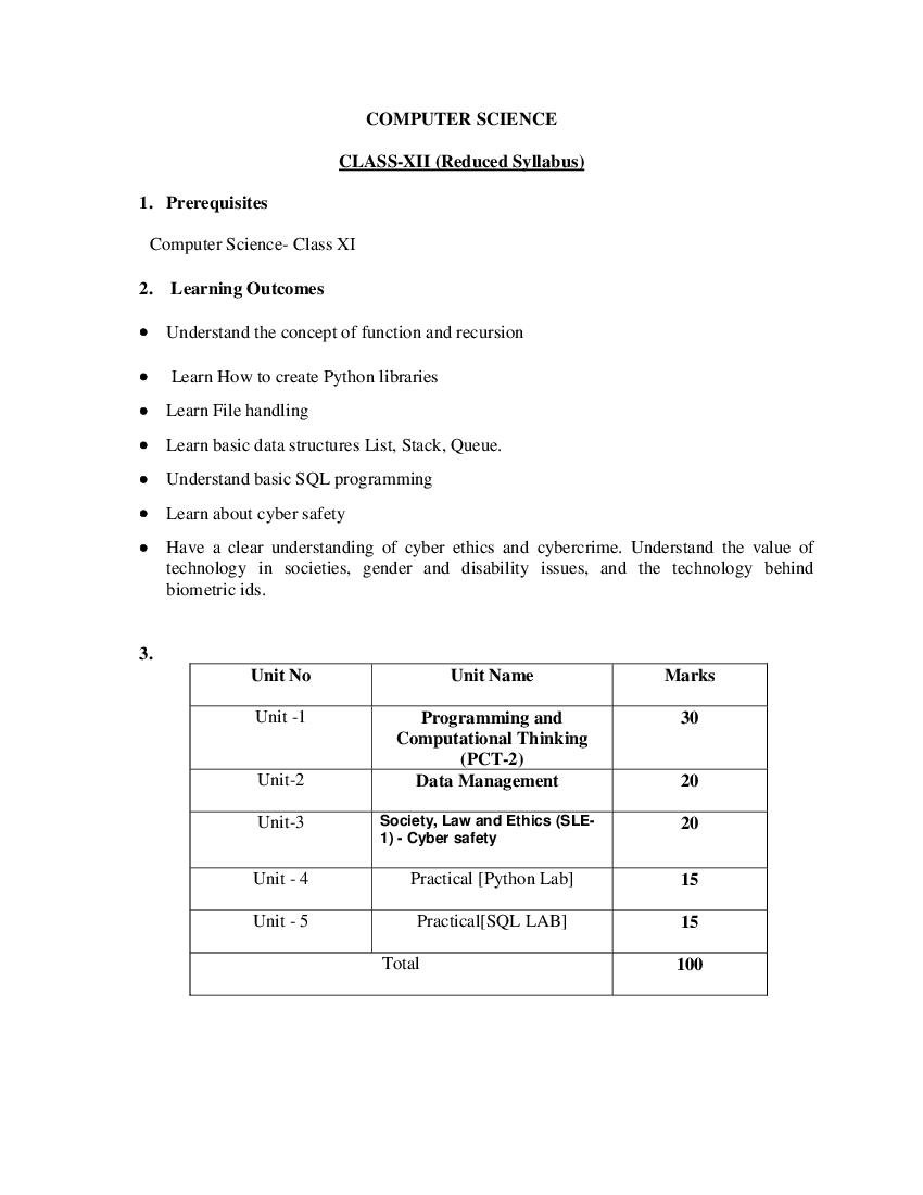 TBSE Class 12 Syllabus 2021 Computer - Page 1