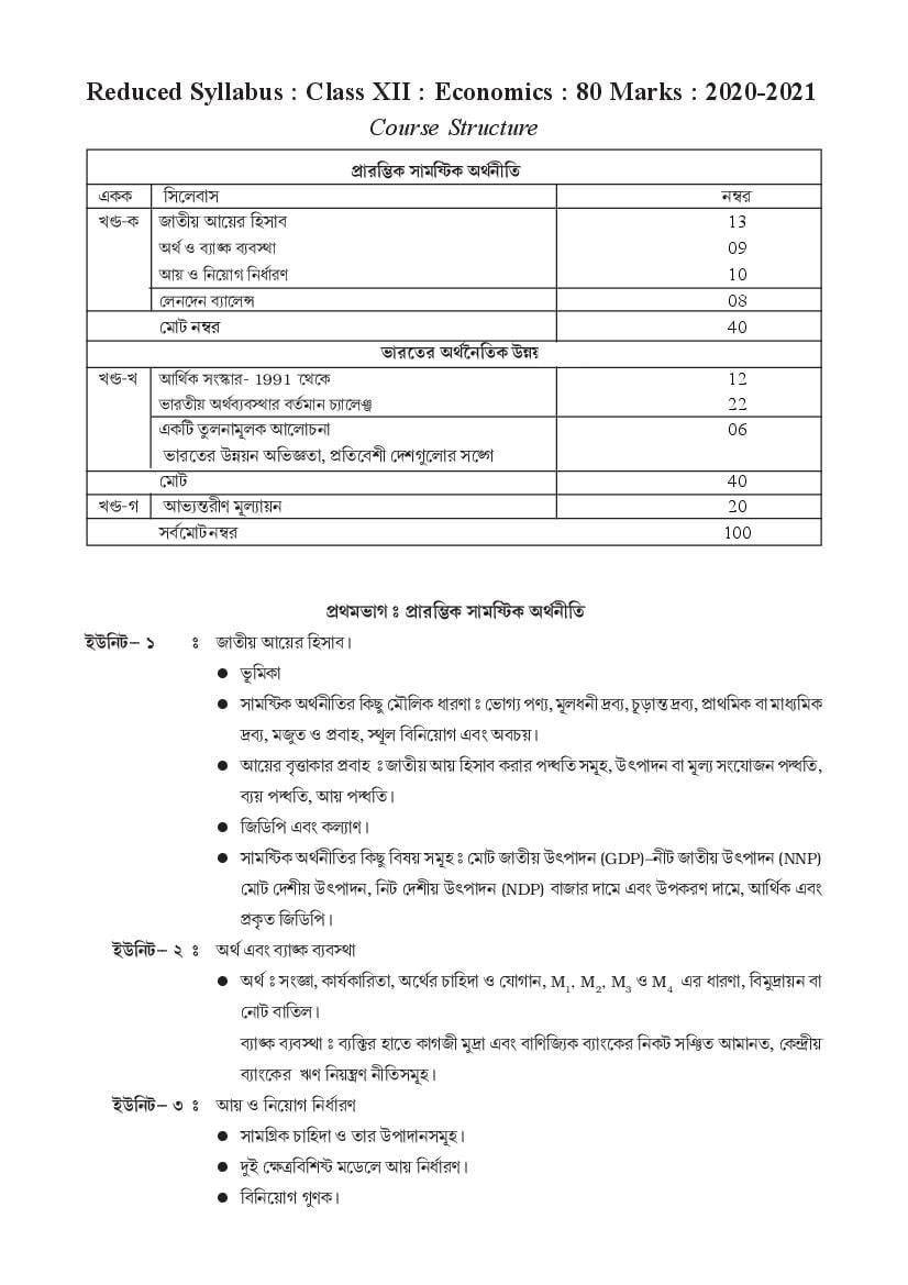 TBSE Class 12 Syllabus 2021 Economics - Page 1