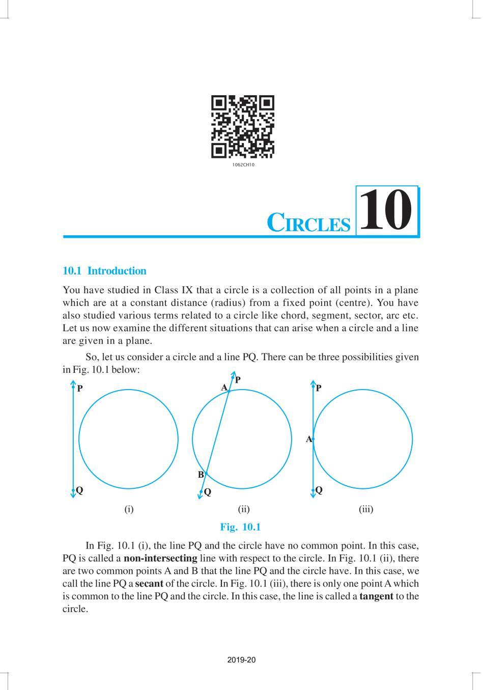NCERT Book Class 10 Maths Chapter 10 Circles - Page 1