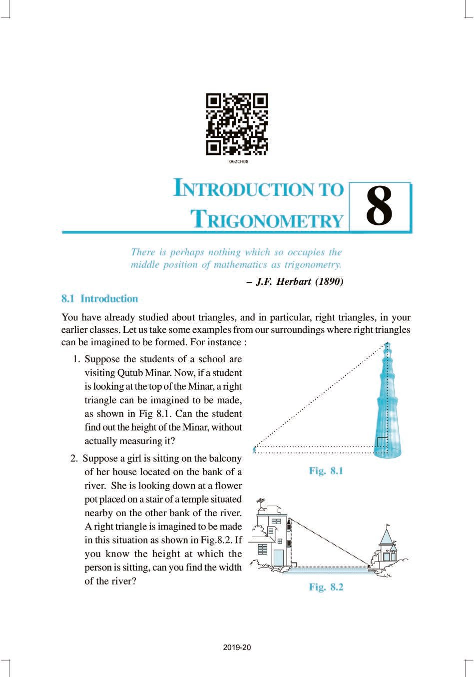 NCERT Book Class 10 Maths Chapter 8 Introduction to Trigonometry - Page 1