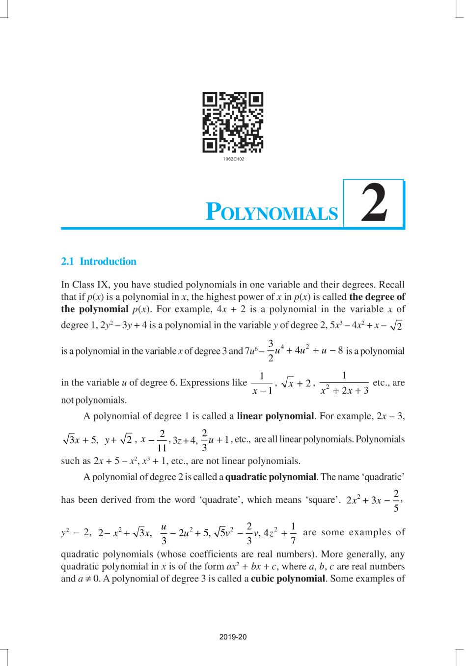 NCERT Book Class 10 Maths Chapter 2 Polynomials - Page 1