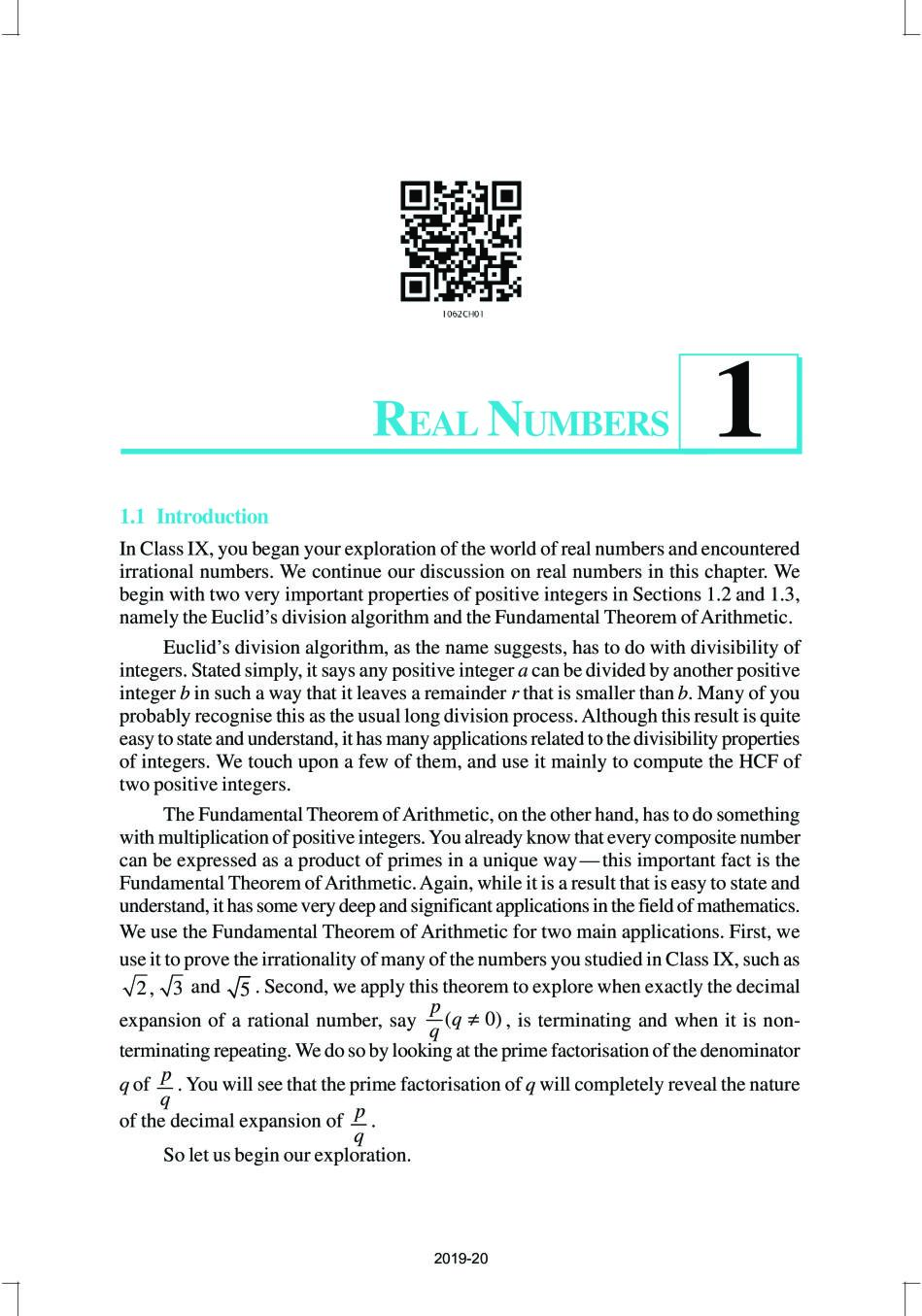 NCERT Book Class 10 Maths Chapter 1 Real Numbers - Page 1