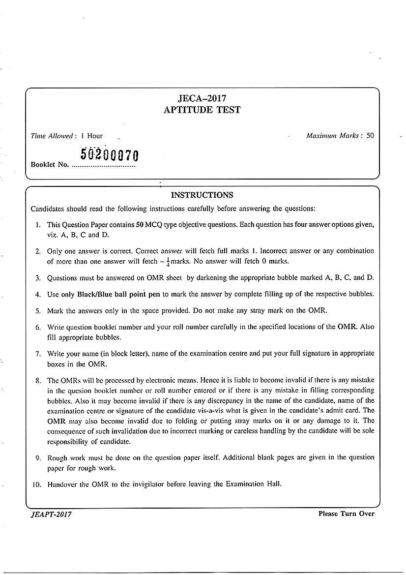 JECA 2017 Question Paper Aptitude - Page 1