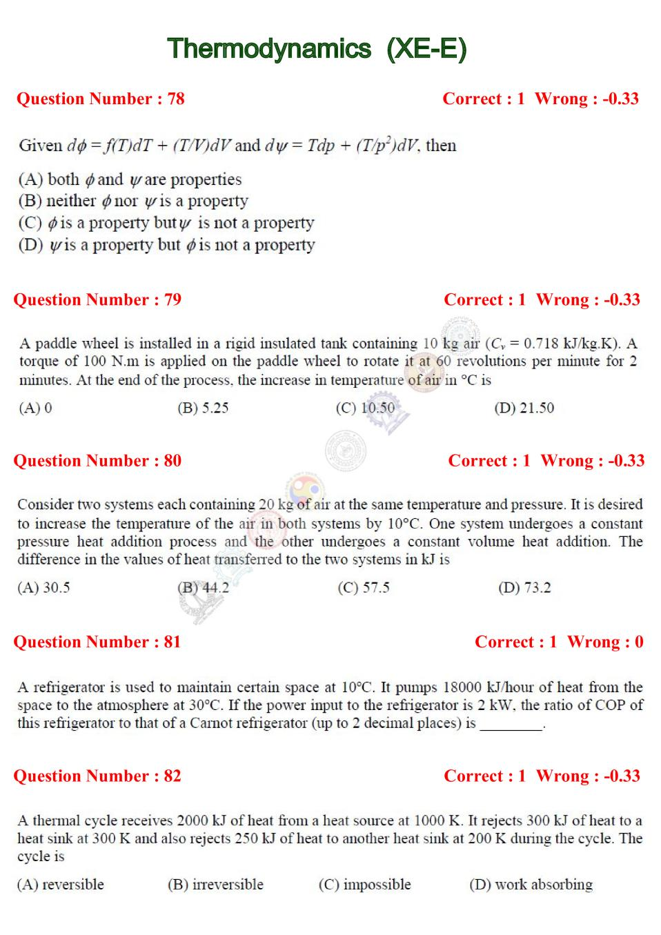 GATE 2017 Thermodynamics (XE-E) Question Paper with Answer - Page 1