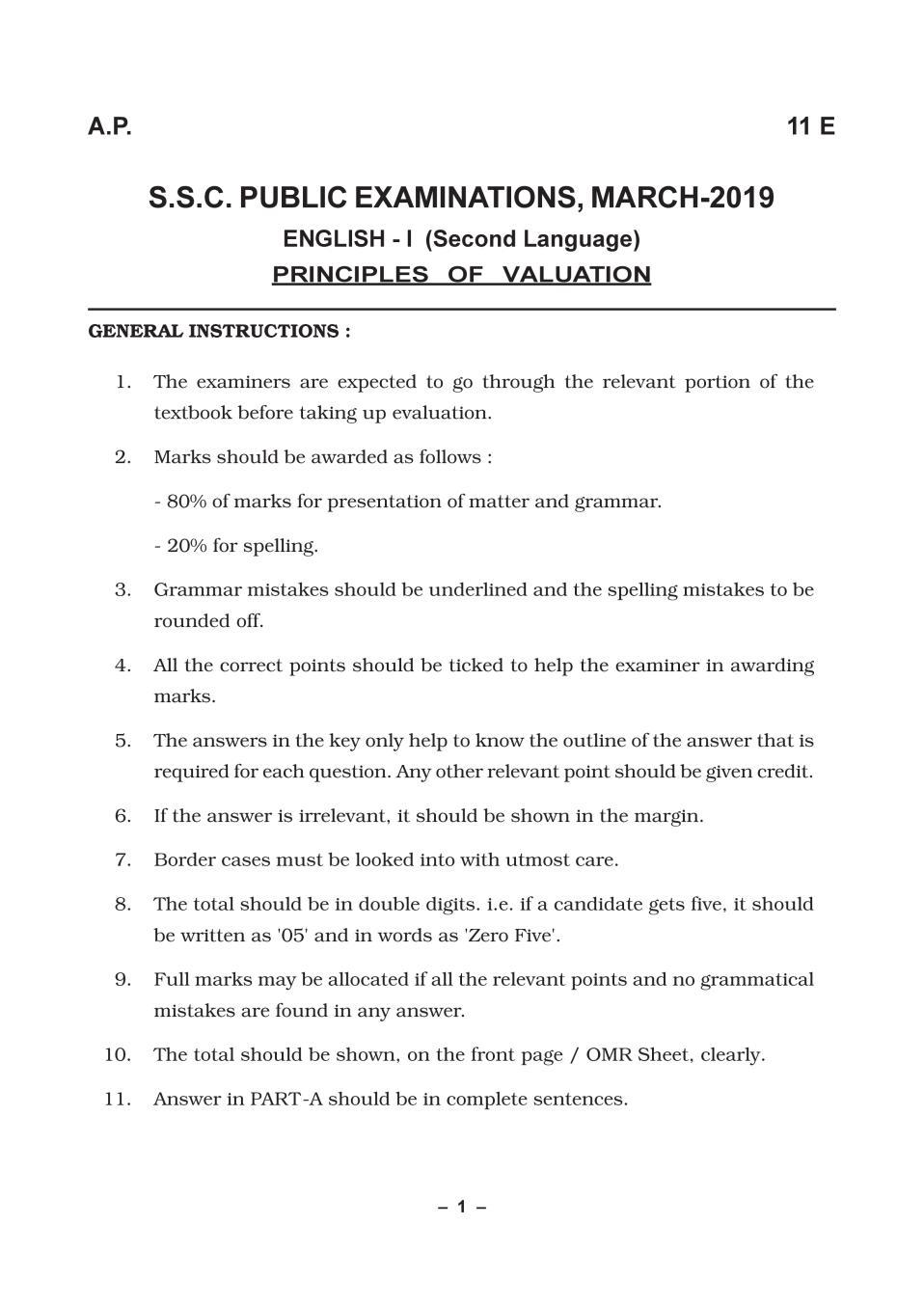 AP 10th Class Marking Scheme 2019 English (2nd Language) - Page 1