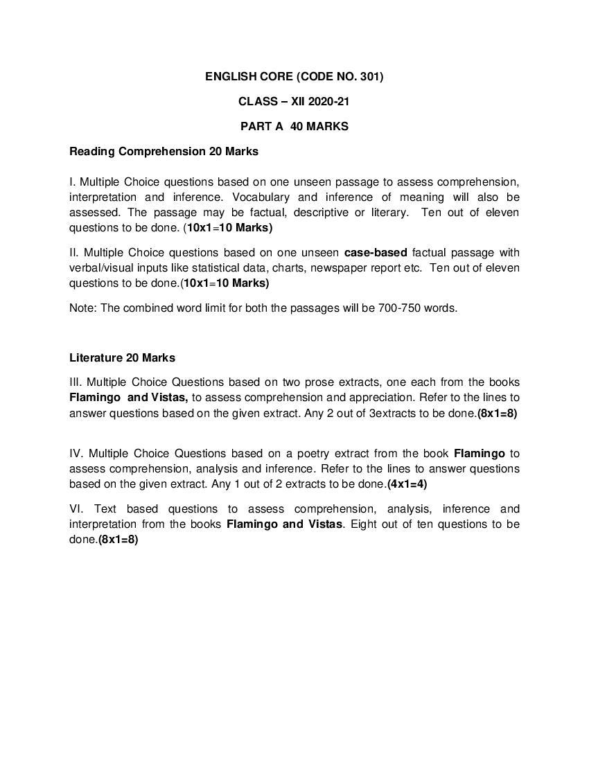 CBSE Class 12 English Core Syllabus 2020-21 - Page 1