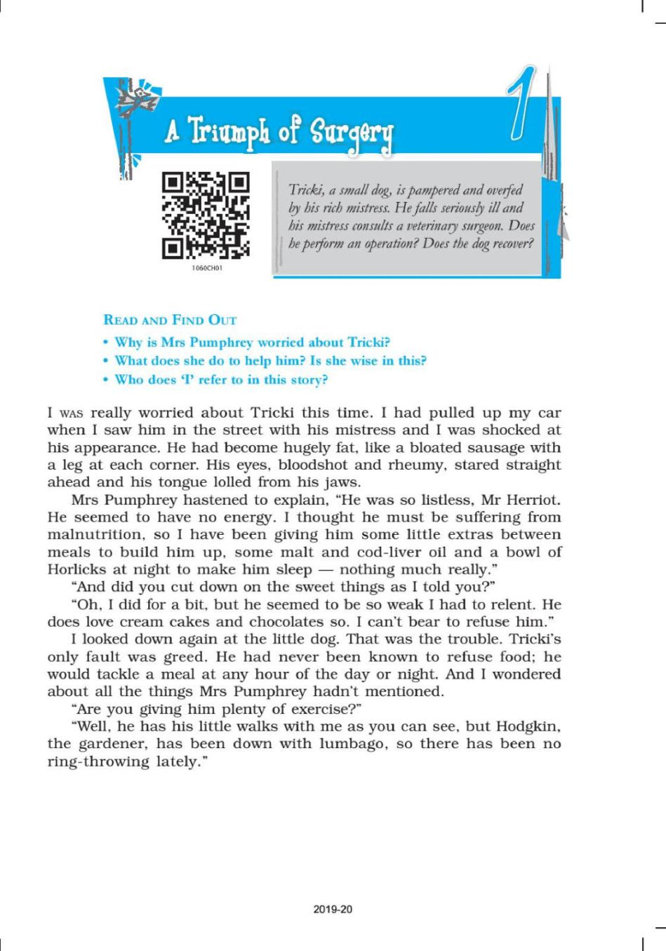 NCERT Book Class 10 English (Foot Prints Without feet) Chapter 1 A Triumph of Surgery - Page 1