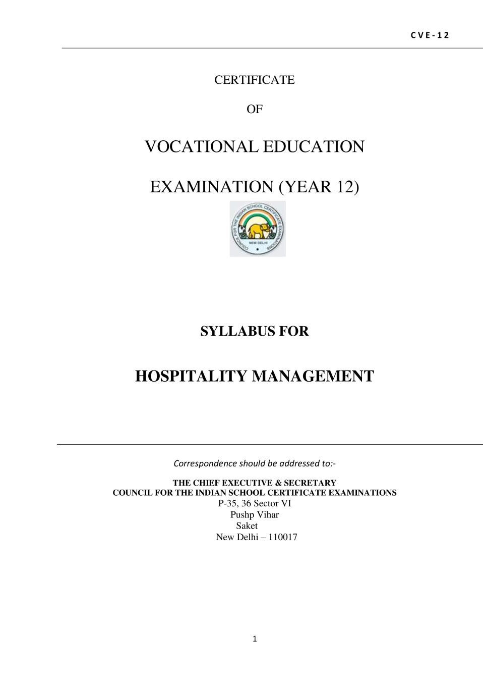 ISC Class 12 Hospitality Management Syllabus (Vocational Course) - Page 1