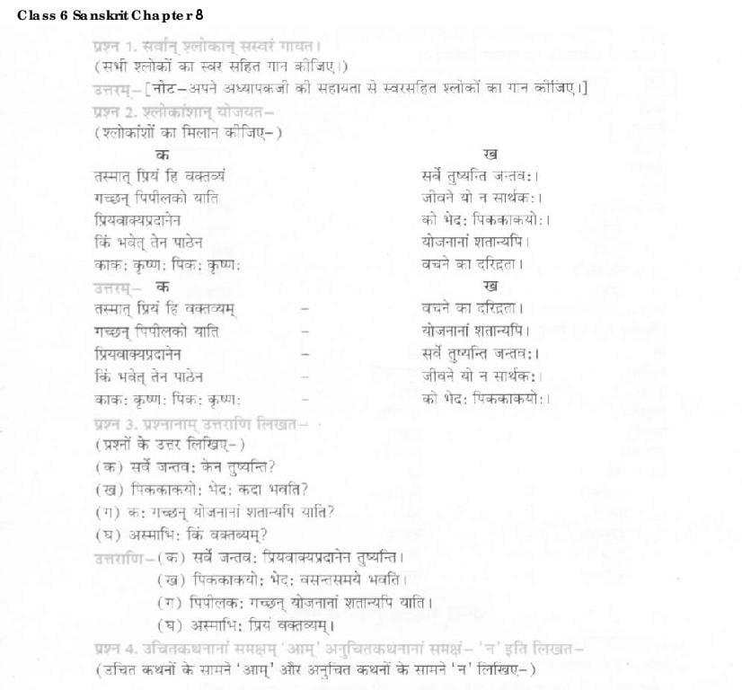 NCERT Solutions Class 6 Sanskrit Chapter 8 सूक्तिस्तबकः - Page 1
