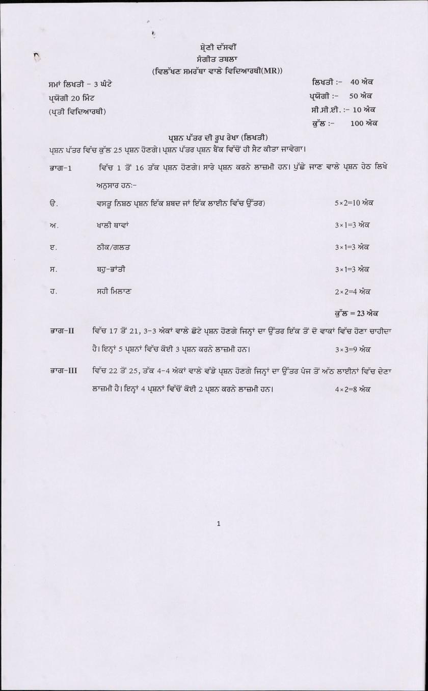 PSEB 10th Class Music (Tabla) Question Bank (Punjabi Medium) - Page 1