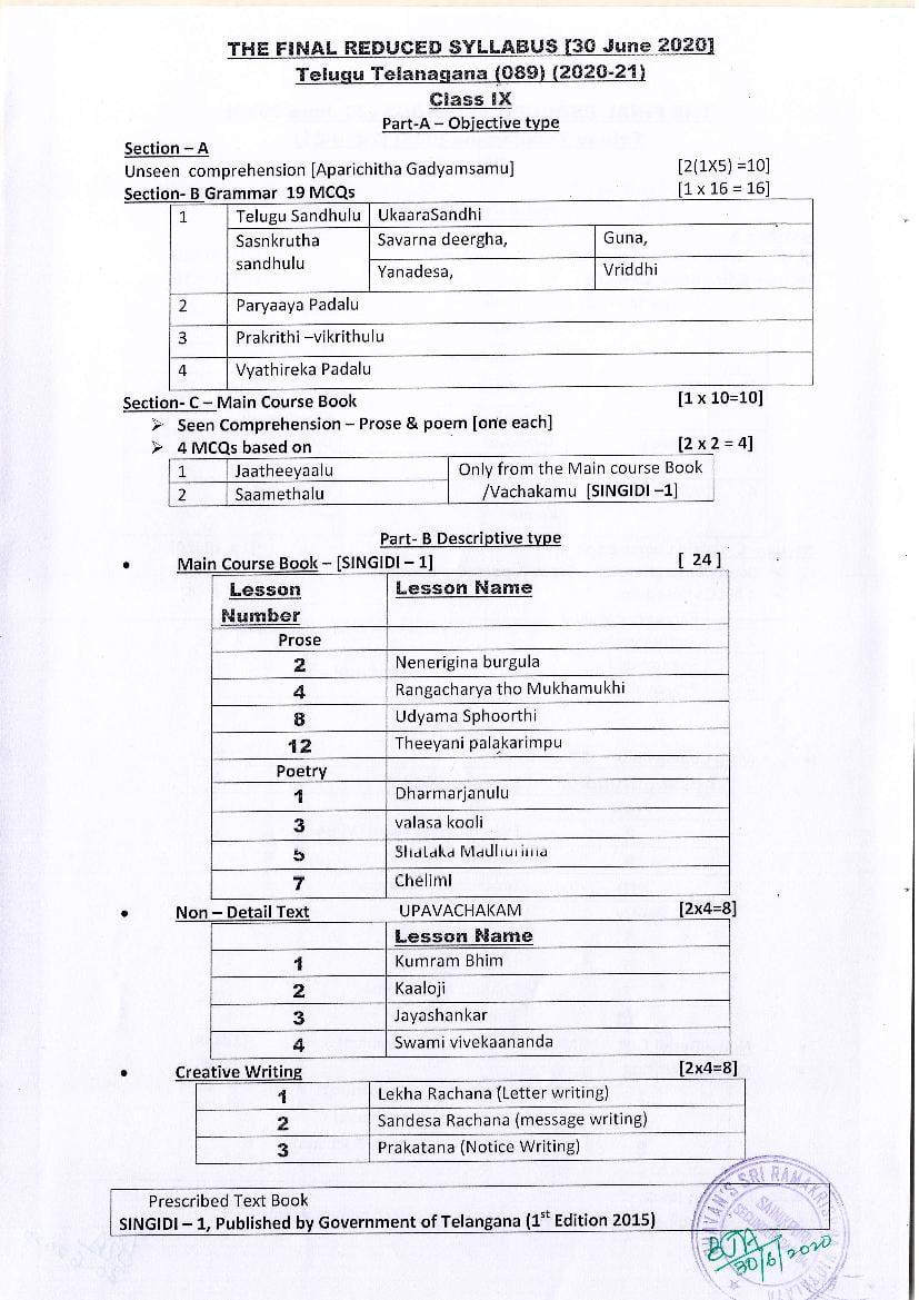 CBSE Class 10 Telugu-AP Syllabus 2020-21 - Page 1