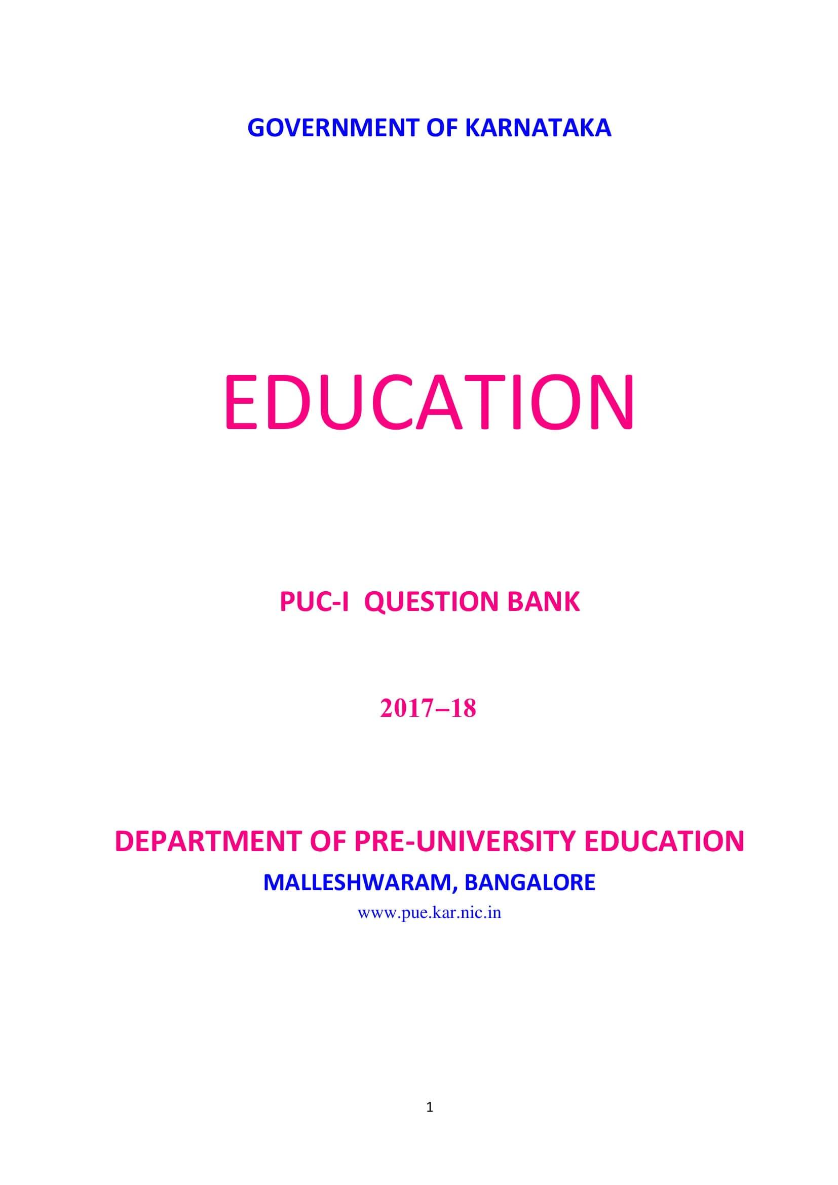 Karnataka 1st PUC Question Bank for Education 2017-18 - Page 1