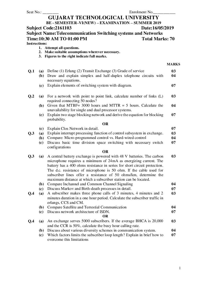 GTU BE Question Paper SEM VI Telecommunication Switching systems and Networks Summer 2019 - Page 1