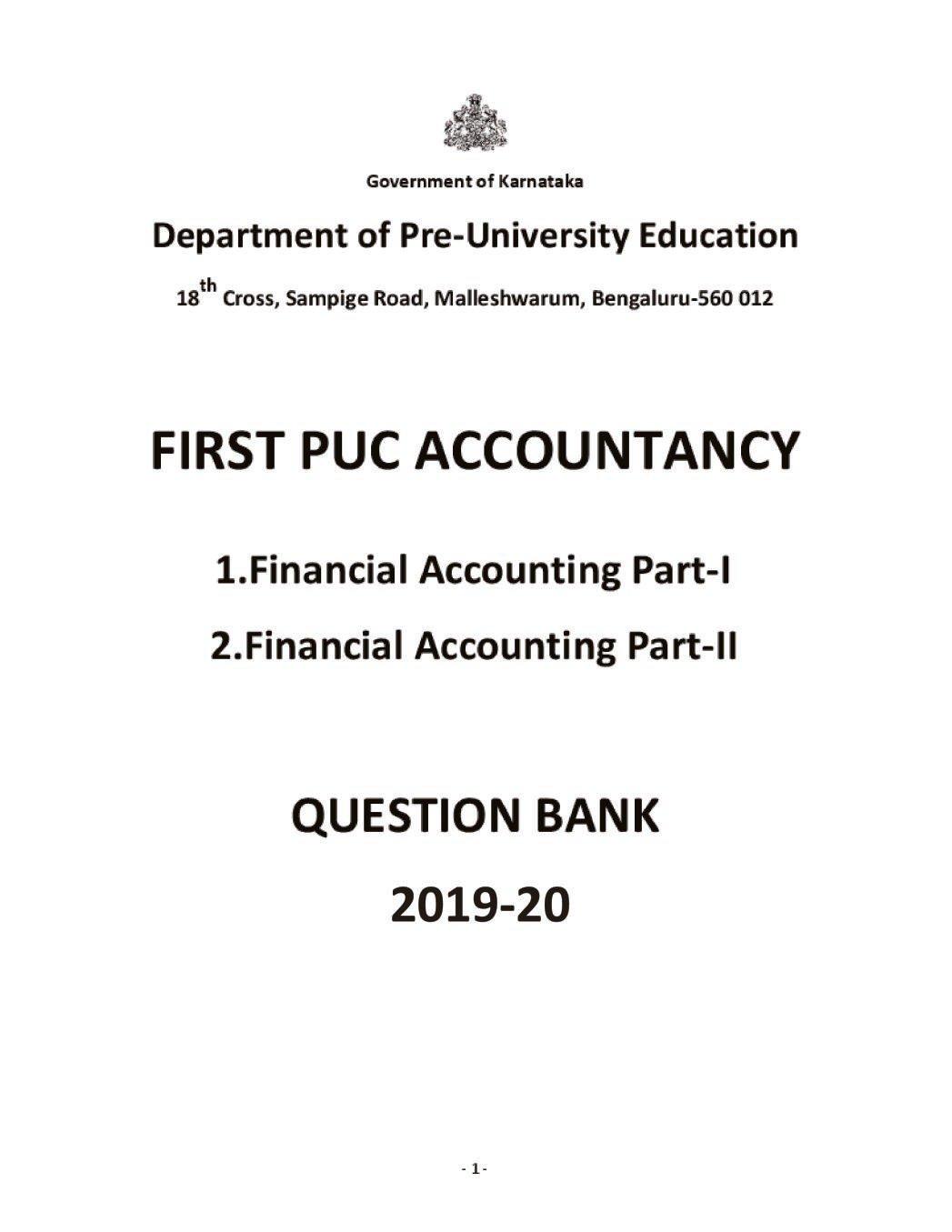 Karnataka 1st PUC Question Bank for Accountancy 2019-20 - Page 1