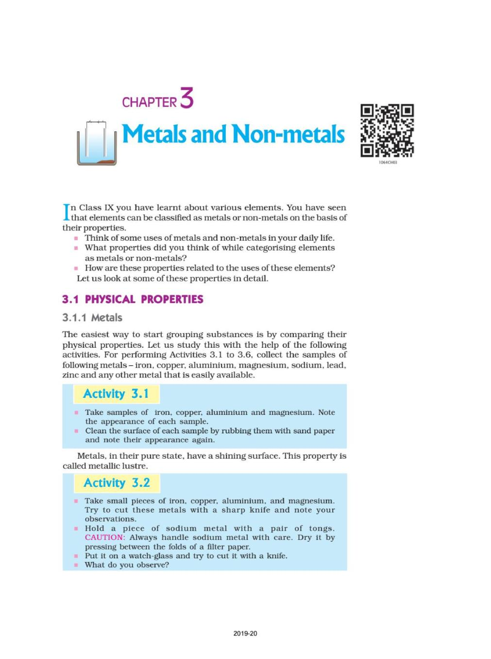 NCERT Book Class 10 Science Chapter 3 Metals and Non-metals - Page 1