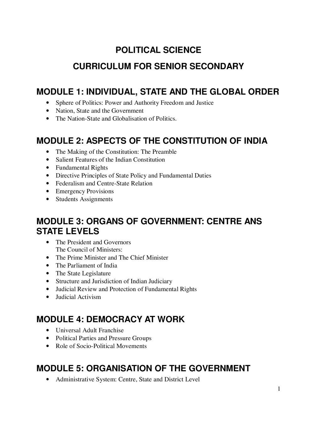 NIOS Class 12 Syllabus - Political Science - Page 1