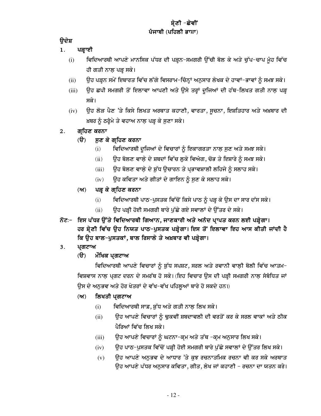 PSEB Syllabus 2020-21 for Class 6 Punjabi - Page 1
