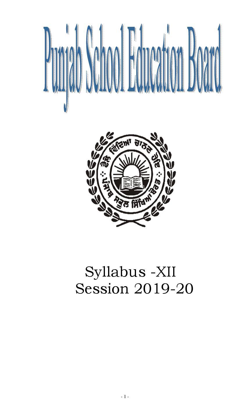 PSEB 12th Syllabus 2020 - Page 1