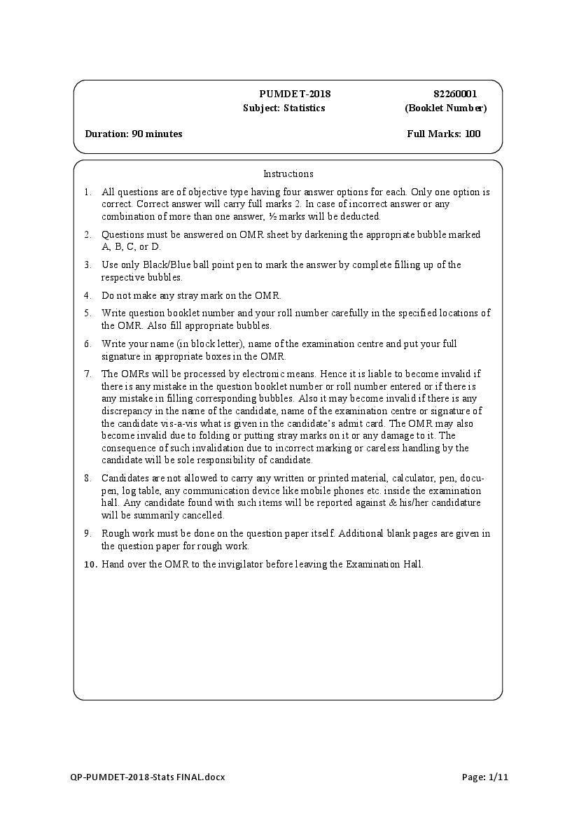 PUMDET 2018 Question Paper Statistics - Page 1