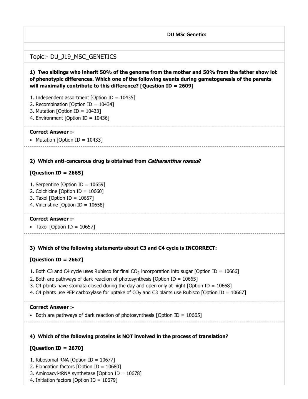 DUET Question Paper 2019 for M.Sc Genetics - Page 1