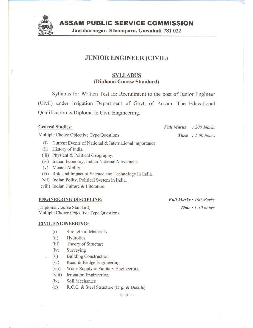 APSC Junior Engineer Civil Irrigation Direct Recruitment Syllabus - Page 1