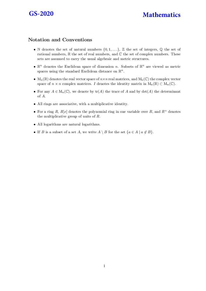 TIFR GS 2020 Question Paper Mathematics - Page 1