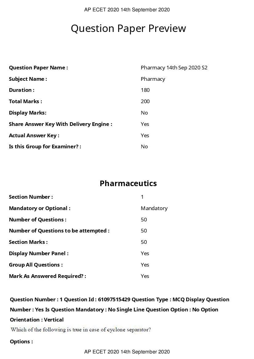 AP ECET 2020 Question Paper Pharmacy - Page 1