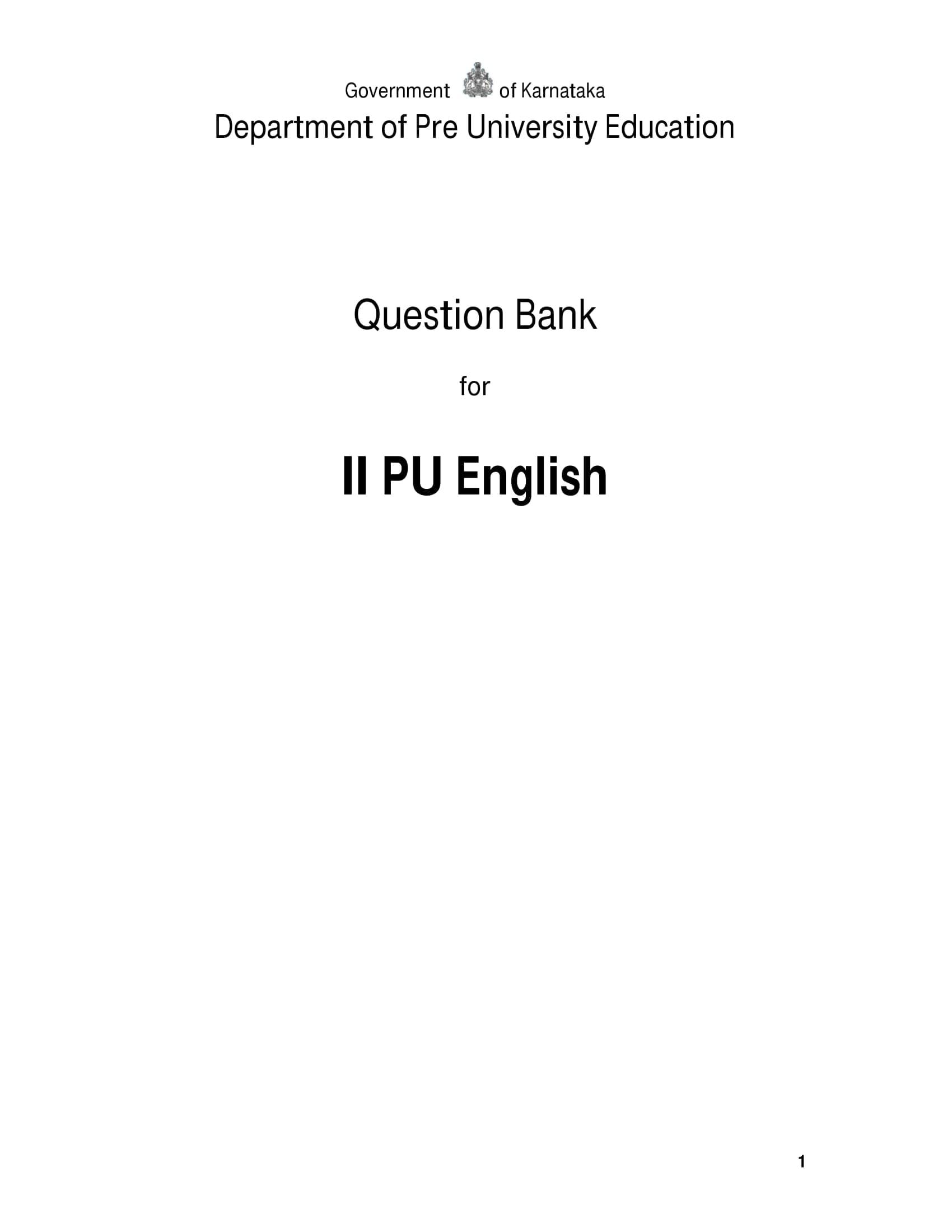 Karnataka 2nd PUC Question Bank for English 2017-18 - Page 1