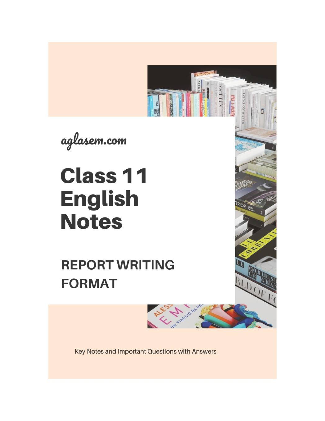 Class 11 English Report Writing Format - Page 1