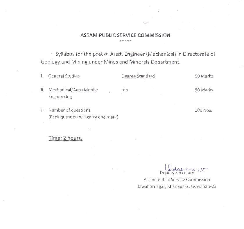 APSC Assistant Engineer Mechanical (M.M.) Direct Recruitment Syllabus - Page 1