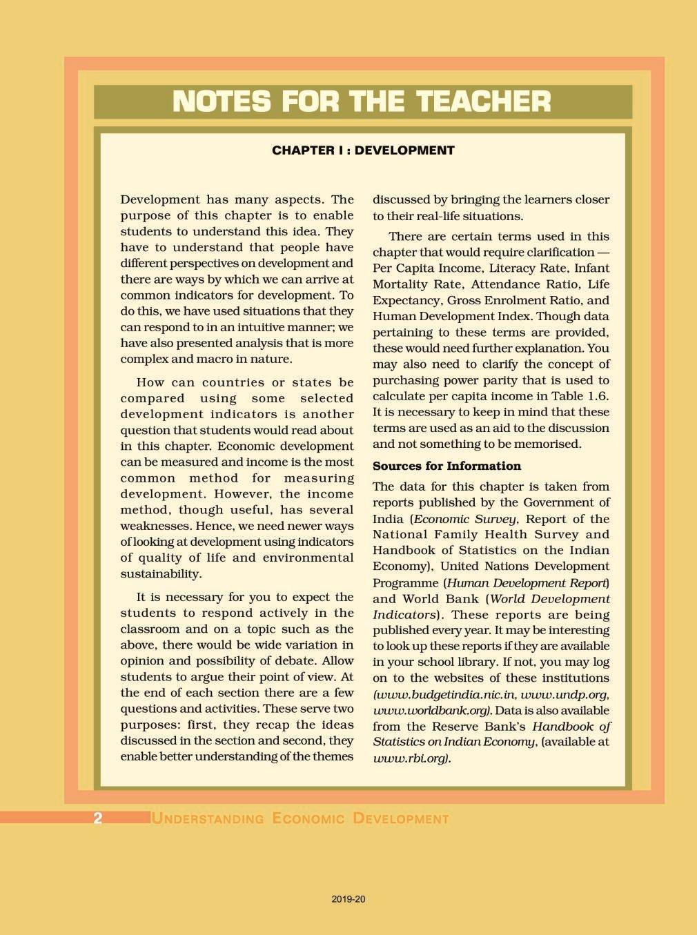 NCERT Book Class 10 Social Science (Economics) Chapter 1 Development - Page 1