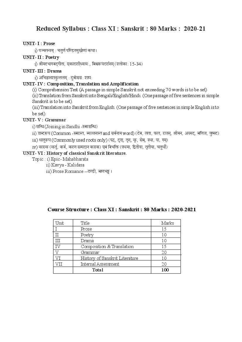 TBSE Class 11 Syllabus 2021 Sanskrit  - Page 1