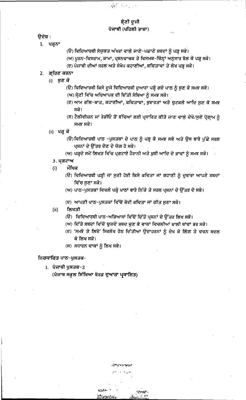 PSEB Syllabus 2021-22 for Class 2 Punjabi First Language - Page 1